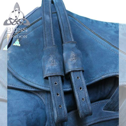 Blue Nubuck Quilt-Stitch Diamante Leathers