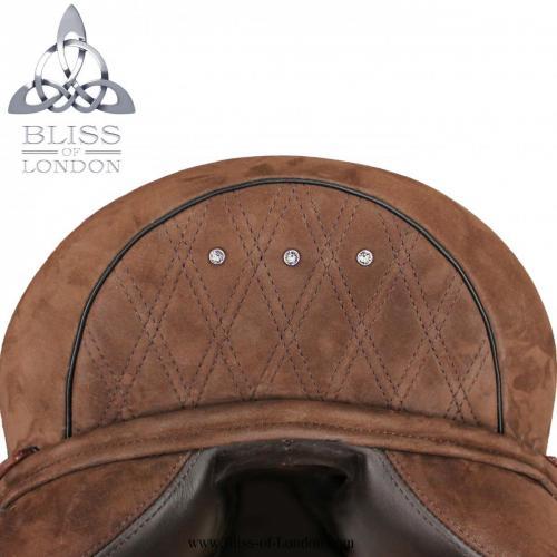 Cocoa Nubuck Quilt Stitch Swarovski Dressage Cantle