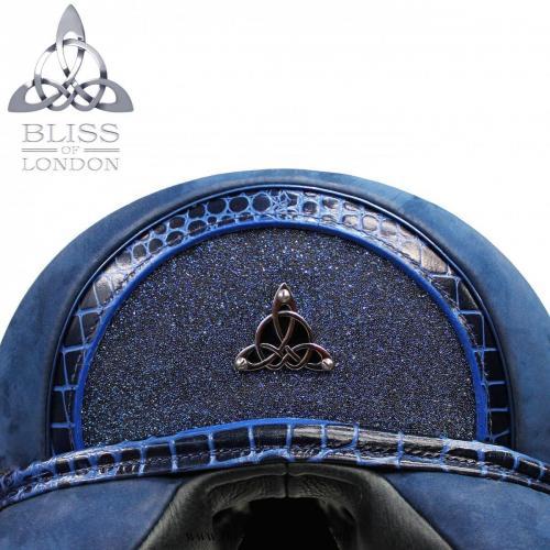 Patent blue mock croc half moon. Swarovski crystal fabric. Dark blue Bliss logo cantle badge. Blue Nubuck saddle.